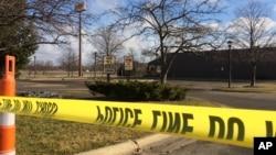 Zone d'une des fusillades au hasard à Kalamazoo, Michigan, le 21 février 2016.