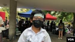 """2019年9月30日香港一名霍姓的12岁中学生成为反送中""""新明星"""" (美国之音海彦拍摄)"""