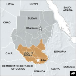 Map of Sudan and South Sudan.