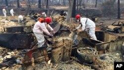 산불이 발생한 미국 캘리포니아주 파라다이스시에서 구조대원들이 16일 전소된 집 사이로 시신을 수색하고 있다.
