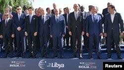Les chefs de délégations à la Conférence sur la Libye, Palerme, Italie, le 13 novembre 2018.