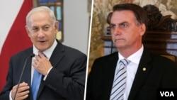 Benjamin Netanyahu (esq) e Jair Bolsonaro (dir) encontraram-se hoje