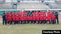 تیم ب ملی افغانستان پیش از رقابت دوستانه با پاکستان در لاهور