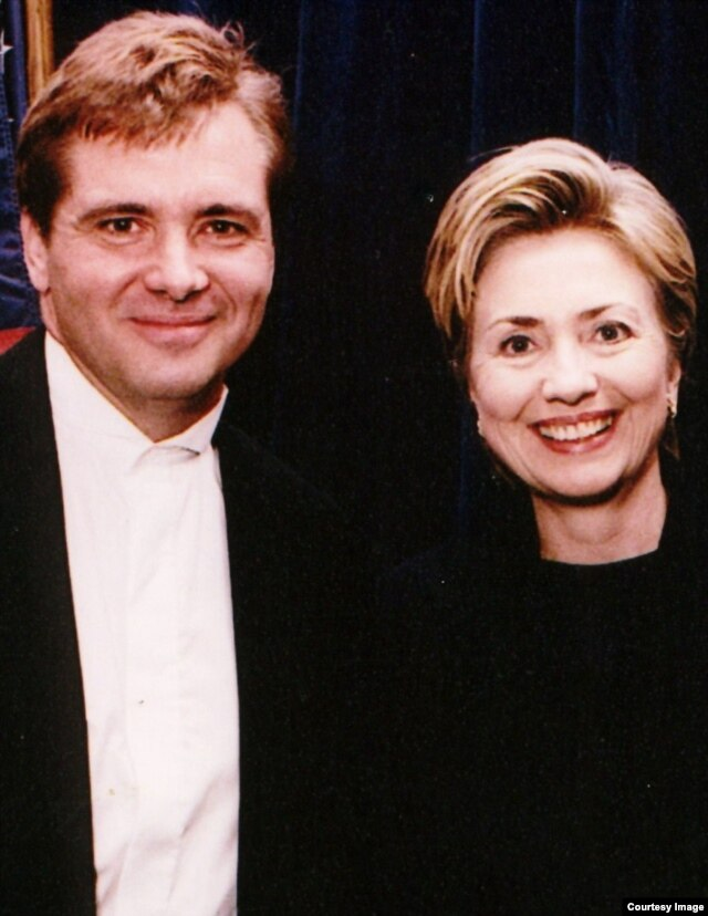Joseph Mohen and then-First Lady Hillary Clinton