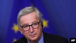 Presiden Komisi Eropa Jean-Claude Juncker dalam konferensi pers di kantor pusat Komisi Eropa di Brussels, Selasa, 19 Maret 2019.