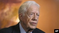 Former President Jimmy Carter during an interview at the Carter Center in Atlanta (2009 file photo)