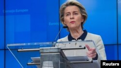 European Commission President Ursula von der Leyen speaks during a news conference following an EU Summit video conference at the European Council building in Brussels, Belgium, November 19, 2020. Olivier Matthys/Pool via REUTERS