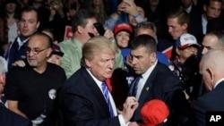 2016年9月30日共和党总统候选人川普在密西根州进行竞选活动。