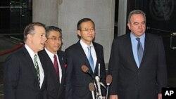 17일 워싱턴에셔 열린 한미일 3자협의에 참석한 각국 대표들. 왼쪽부터 글린 데이비스 특별대표, 스기야마 신스케 국장, 임성남 본부장, 커트 캠벨 차관보