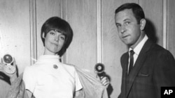"Barbara Feldon and Don Adams, co-stars of the spy spoof show ""Get Smart"" on NBC. (AP Photo)"