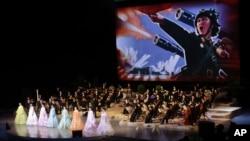 북한 평양에서 은하수 관현악단의 공연이 열리고 있다. (자료사진)
