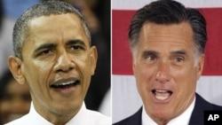 President Barack Obama နဲ႔ ၿပိဳင္ဖက္Republican presidential candidate, former Massachusetts Gov. Mitt Romney