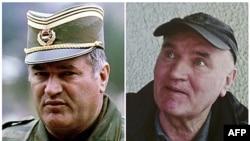 Ảnh của ông Ratko Mladic lúc là tướng trong quân đội và sau khi bị bắt hôm 26/5/11