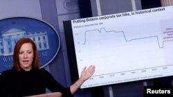La secretaria de prensa de la Casa Blanca, Jen Psaki, habla sobre previos aumentos de los impuestos en Estados Unidos. [Foto de archivo].