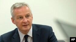 Le ministre français des Finances, Bruno Le Maire, lors d'une conférence de presse en marge des assemblées annuelles Banque mondiale / FMI à Washington, le 18 octobre 2019.