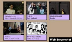 'Humanity Youth' exhibition, fr. top left: Deny (Semarang), Fat Velvet (Bandung), Bombo (Makassar), Armin (Kupang), Toma & Kako (Jakarta). (Foto: screenshot).