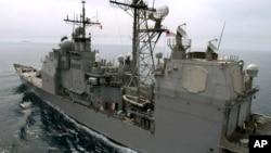 ناو جنگی یو اس اس کاوپنز اوایل ماه جاری میلادی از برخورد قطعی با یک رزمناو چینی احتراز کرد.