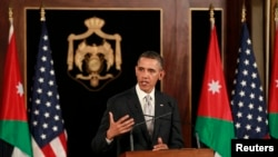 U.S. President Barack Obama during a joint news conference with Jordan's King Abdullah at Al-Hummar Palace, in Amman, March 22, 2013.