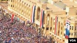 Rassemblement à Rakka, au nord-est de Damas (VOA)