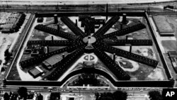 FILE - Holmesburg Prison, in the northeast section of Philadelphia, Pennsylvania, is shown in this aerial view from 1970. City officials said, June 22, 2016, the prison will be used if needed to hold protesters who are arrested during the Democratic Convention next month.