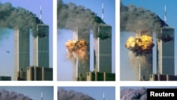 This series of photographs shows hijacked United Airlines Flight 175 as it approaches (upper L) and impacts the World Trade Center's south tower (L), bursting into flames and raining a hail of debris on lower Manhattan September 11, 2001.
