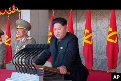 FILE - In this image made from video, North Korean leader Kim Jong Un delivers a speech during the ceremony to mark the 70th anniversary of the country's ruling party in Pyongyang, Oct. 10, 2015.