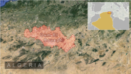 Map showing area of a plane crash in Oum El Bouaghi, Algeria