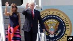 Президент США Дональд Трамп с супругой прибыли в Гамбург. Германия. 6 июля 2017 г.