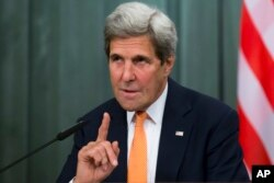 FILE - U.S. Secretary of State John Kerry speaking to the media.