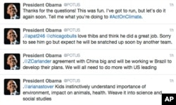 This screen grab shows Obama's answers to questions posted to his Twitter feed, May 28, 2015.