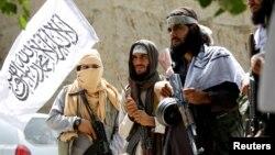 Taliban celebrate ceasefire in Ghanikhel district of Nangarhar province, Afghanistan, June 16, 2018.