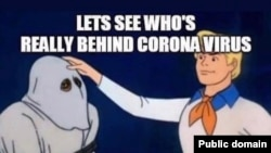 This meme, a humorous take on the old Scooby-Doo TV series, imagines who might be at fault for the coronavirus.