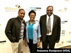 De la gauche ver la droite: Yemani Demessie, cinéaste, professeur de cinema a NYU, Fatou Zongo, actrice burkinabé vivant à New York, Aboubakar Sanogo (FEPACI)