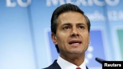 Mexico's President Enrique Pena Nieto addresses a news conference during a European Union-Mexico summit in Brussels, Belgium, June 12, 2015.