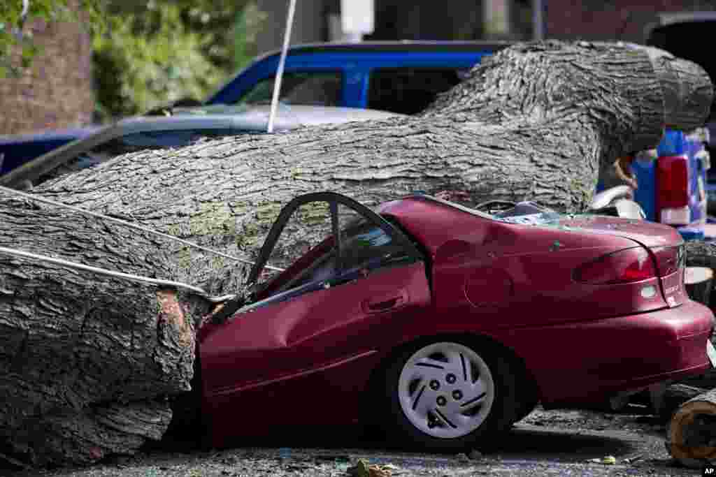 A downed tree lies atop a crushed car in Philadelphia. About 228,000 homes and businesses across Pennsylvania, USA, remain without power after severe thunderstorms raced across the state.