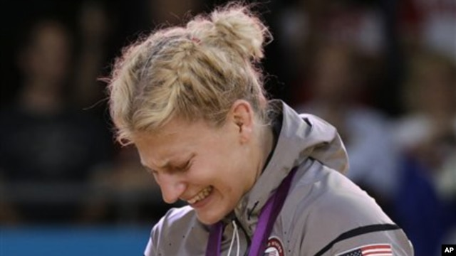 Kayla Harrison is overcome with emotion after winning gold medal in judo, Aug. 2, 2012