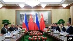 中国国家主席习近平2019年8月29日在北京钓鱼台国宾馆会晤到访的菲律宾总统杜特尔特。