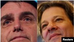 Jair Bolsonaro (gauche) and Fernando Haddad ( droite) s'affronteront le 28 octobre au second tour de la présidentielle au Brésil.
