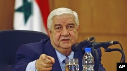 Syrian Foreign Minister Walid al-Moualem talks during a news conference in Damascus, Syria, January 24, 2012.