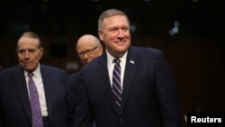 Representative Mike Pompeo (R-KS) arrives to testify before a Senate Intelligence hearing on his nomination to head the CIA on Capitol Hill in Washington, Jan. 12, 2017.