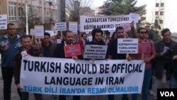 Fəallar Ankarada İran səfirliyi qarşısında piket keçirib