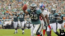 Philadelphia Eagles running back LeSean McCoy scores a touchdown at Lincoln Financial Field, where about a third of the stadium's power is expected to come from the sun and wind.