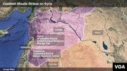نقشے میں ان مقامات کی نشاندہی کی گئی ہے جہاں امریکی اتحادی فورسز نے میزائل حملے کیے۔ 14 اپریل 2018