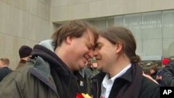 Tobey Slagenweit-Coffman (left) and his partner in front of DC Court Building, 3 Mar 2010