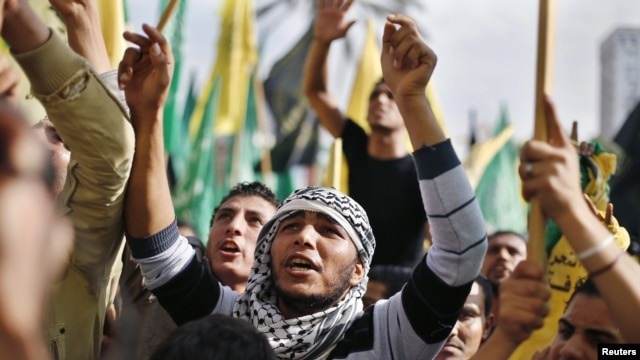 After eight days of conflict, Palestinians rally in celebration of what they describe as a victory over Israel, Gaza City, Nov. 22, 2012.