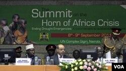 Para pemimpin negara-negara Tanduk Afrika membahas krisis kelaparan, bertempat di kompleks PBB di Nairobi, Kenya (9/9).