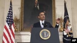 奧巴馬總統星期一在白宮發表講話