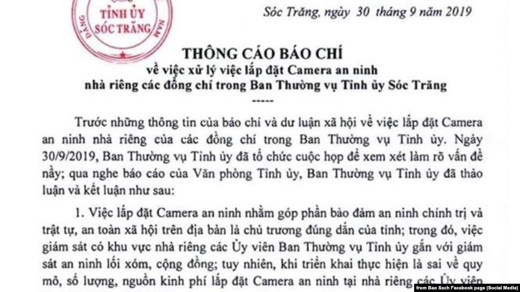 Thông cáo báo chí của Tỉnh ủy Sóc Trăng, 30/9/2019, đăng trên Pháp luật TP HCM và mạng xã hội
