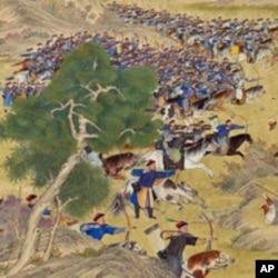 乾隆时期的清朝军队(呼尔满大捷图局部)