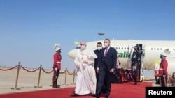 Iraqi Prime Minister Mustafa Al-Kadhimi welcomes Pope Francis
